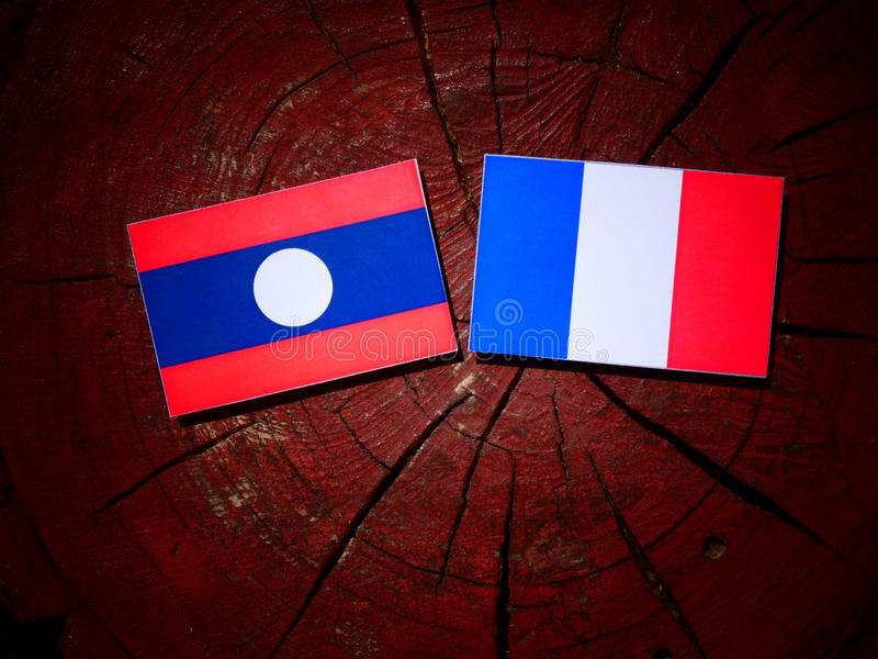 Drapeau du Laos avec le drapeau français sur un tronçon d'arbre d'isolement photo libre de droits