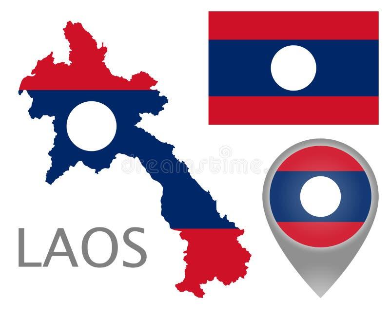 Drapeau du Laos, carte et indicateur de carte illustration stock