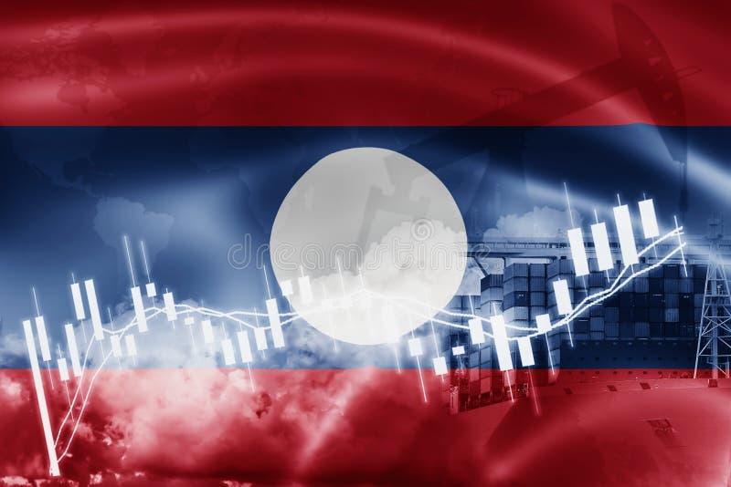 Drapeau du Laos, marché boursier, économie d'échange et commerce, production de pétrole, navire porte-conteneurs dans l'exportati illustration libre de droits