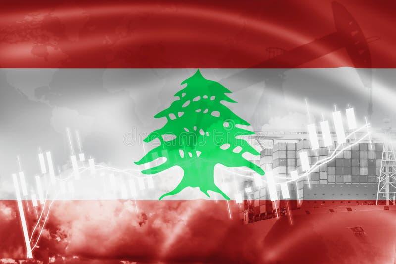 Drapeau du Liban, marché boursier, économie d'échange et commerce, production de pétrole, navire porte-conteneurs dans l'exportat illustration de vecteur