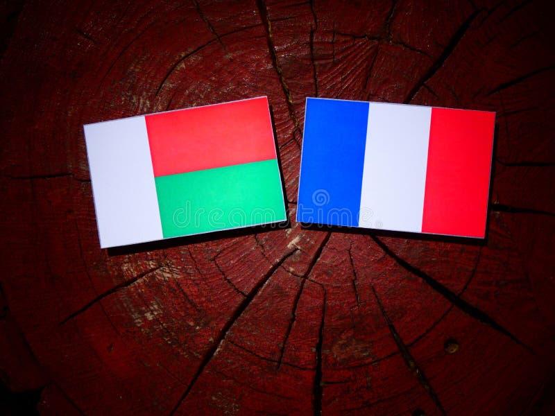 Drapeau du Madagascar avec le drapeau français sur un tronçon d'arbre d'isolement photos libres de droits