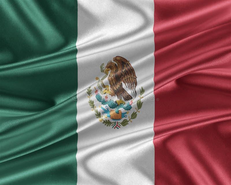 Drapeau du Mexique avec une texture en soie brillante illustration de vecteur