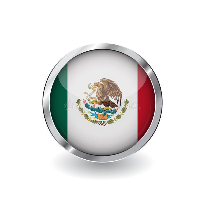 Drapeau du Mexique, bouton avec le cadre en métal et l'ombre icône de vecteur de drapeau du Mexique, insigne avec l'effet brillan illustration libre de droits