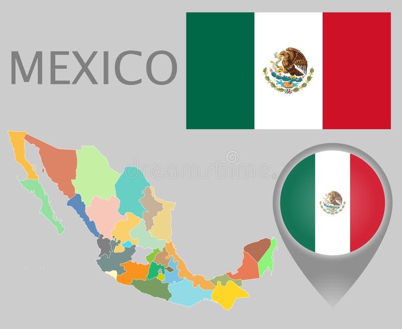 Drapeau du Mexique, indicateur de carte et carte avec les divisions administratives illustration stock