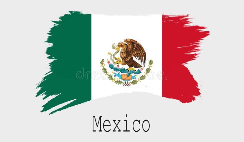 Drapeau du Mexique sur le fond blanc illustration libre de droits