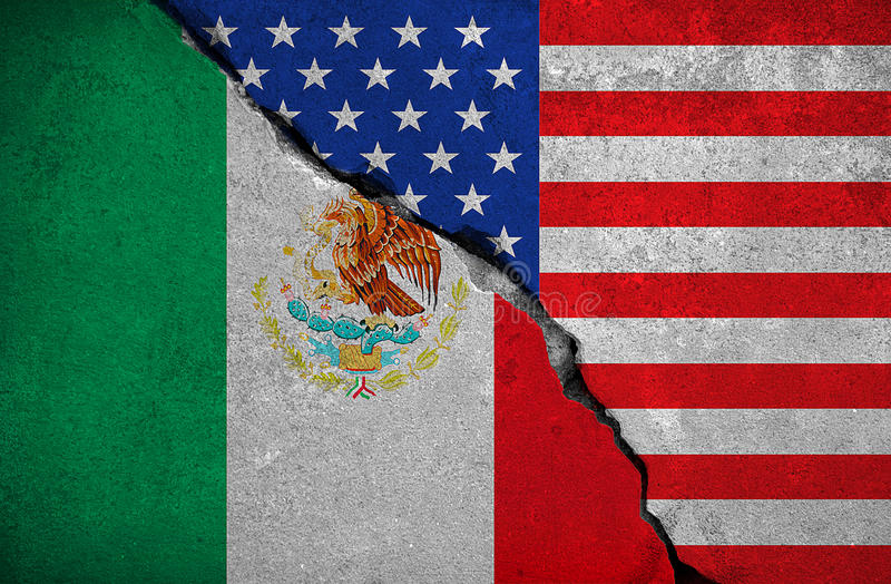 Drapeau du Mexique sur le mur de briques cassé et demi drapeau des Etats-Unis Etats-Unis d'Amérique, président d'atout de crise e illustration stock