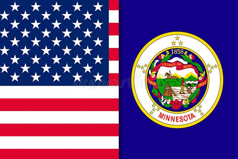 Drapeau du Minnesota et des USA illustration de vecteur