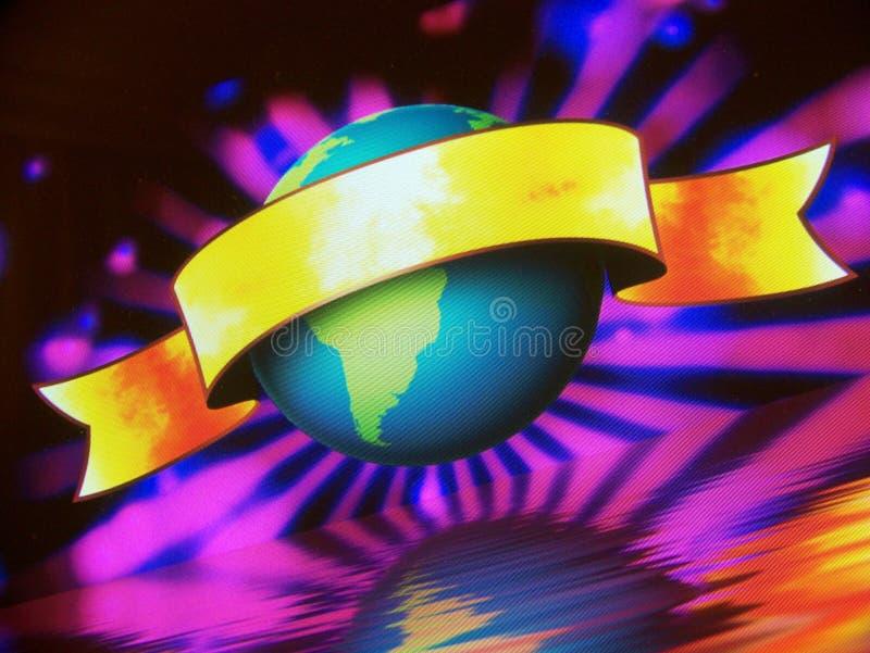 Drapeau du monde de globe photographie stock