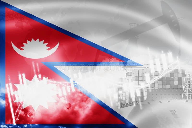 Drapeau du Népal, marché boursier, économie d'échange et commerce, production de pétrole, navire porte-conteneurs dans l'exportat illustration de vecteur