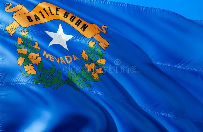 Drapeau du Nevada 3D ondulant la conception de drapeau d'état des Etats-Unis Le symbole national des USA de l'état du Nevada, ren photo libre de droits