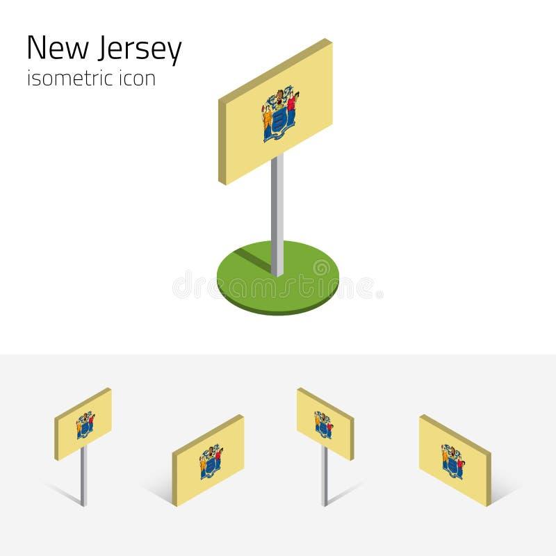 Drapeau du New Jersey Etats-Unis, icônes plates isométriques du vecteur 3D illustration libre de droits