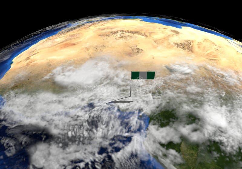 Drapeau du Nigéria sur le poteau sur l'illustration de globe de la terre illustration libre de droits