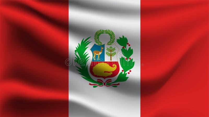 Drapeau du Pérou ondulant avec le drapeau de vague d'illustration du vent 3D illustration de vecteur