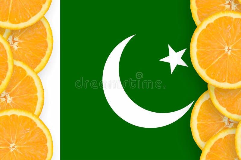 Drapeau du Pakistan dans le cadre vertical de tranches d'agrumes image libre de droits
