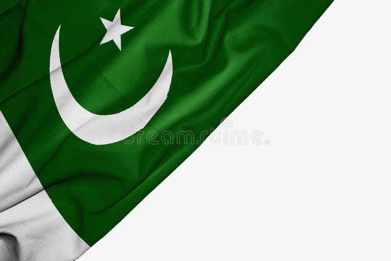Drapeau du Pakistan de tissu avec le copyspace pour votre texte sur le fond blanc illustration libre de droits