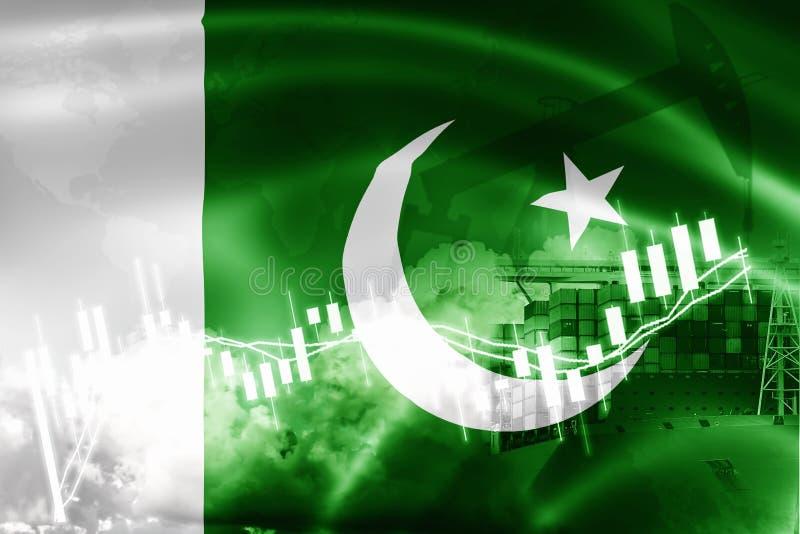Drapeau du Pakistan, marché boursier, économie d'échange et commerce, production de pétrole, navire porte-conteneurs dans des aff illustration libre de droits