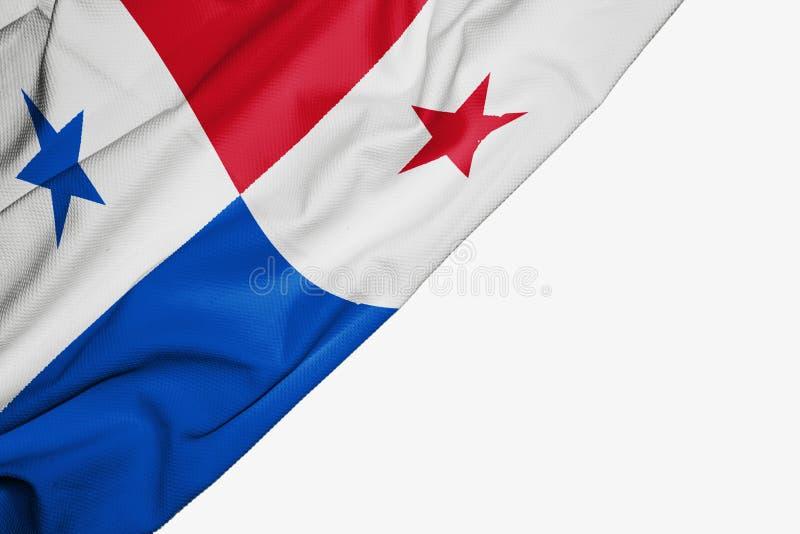 Drapeau du Panama de tissu avec le copyspace pour votre texte sur le fond blanc illustration libre de droits