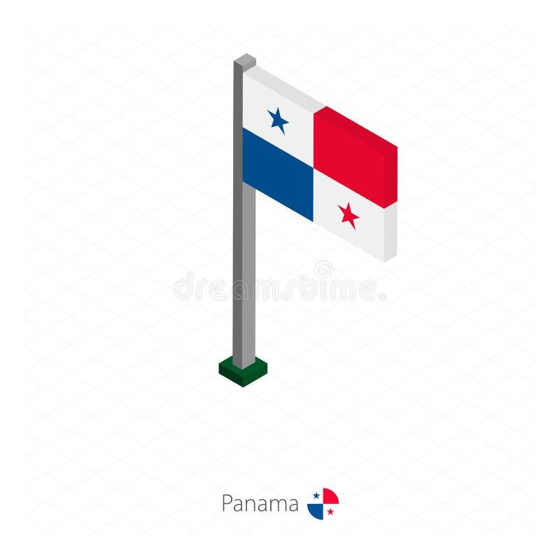 Drapeau du Panama sur le mât de drapeau dans la dimension isométrique illustration de vecteur