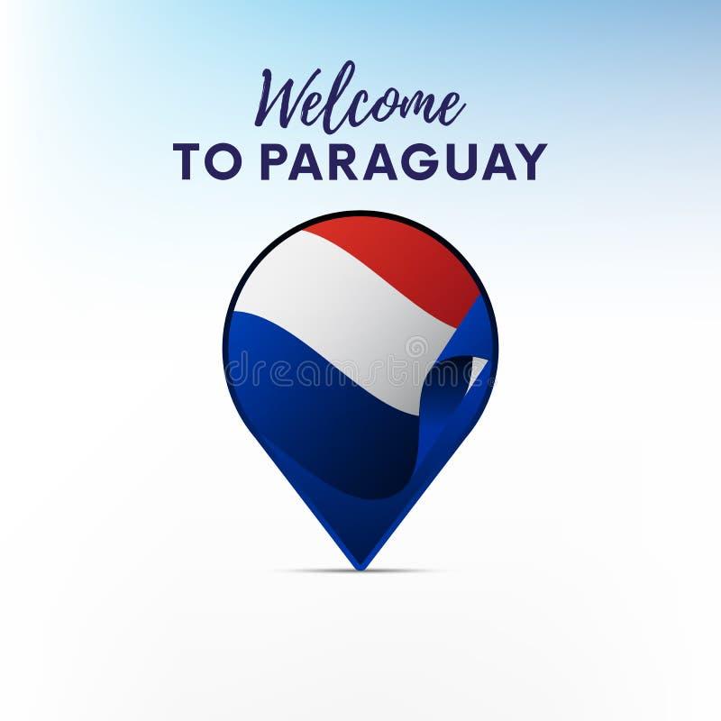 Drapeau du Paraguay dans la forme de l'indicateur ou du marqueur de carte Accueil vers le Paraguay Vecteur illustration stock