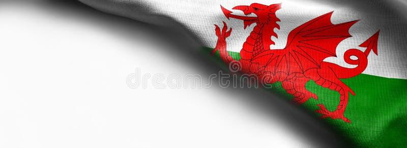 Drapeau du Pays de Galles sur le fond blanc image stock