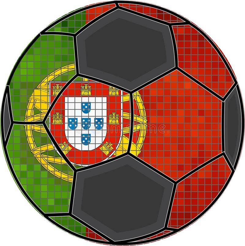 Drapeau du Portugal avec le fond de ballon de football illustration stock