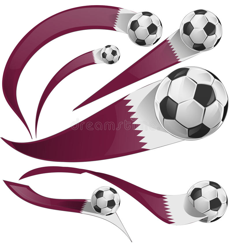 Drapeau du Qatar réglé avec du ballon de football illustration de vecteur