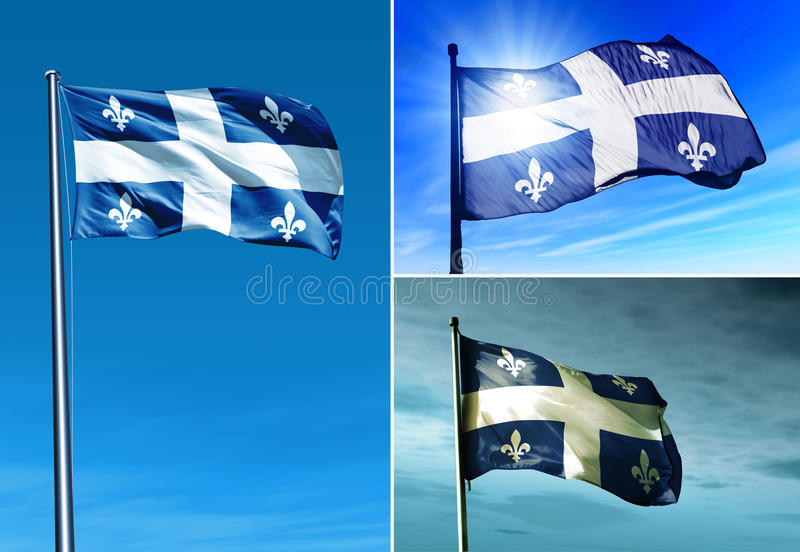 Drapeau du Québec (Canada) ondulant sur le vent photos stock