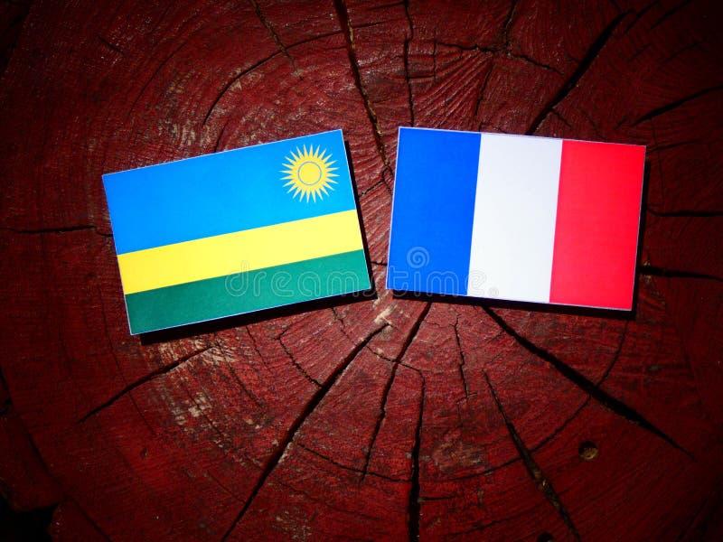 Drapeau du Rwanda avec le drapeau français sur un tronçon d'arbre d'isolement image stock