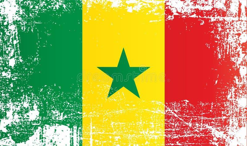 Drapeau du Sénégal, Afrique Taches sales froissées illustration libre de droits