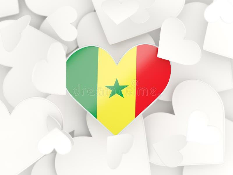 Drapeau du Sénégal, autocollants en forme de coeur illustration libre de droits