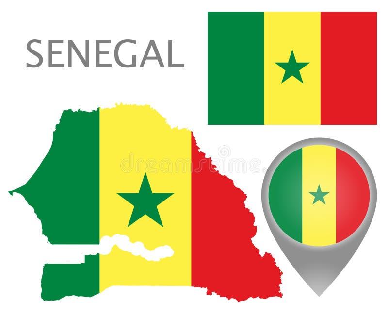 Drapeau du Sénégal, carte et indicateur de carte illustration de vecteur