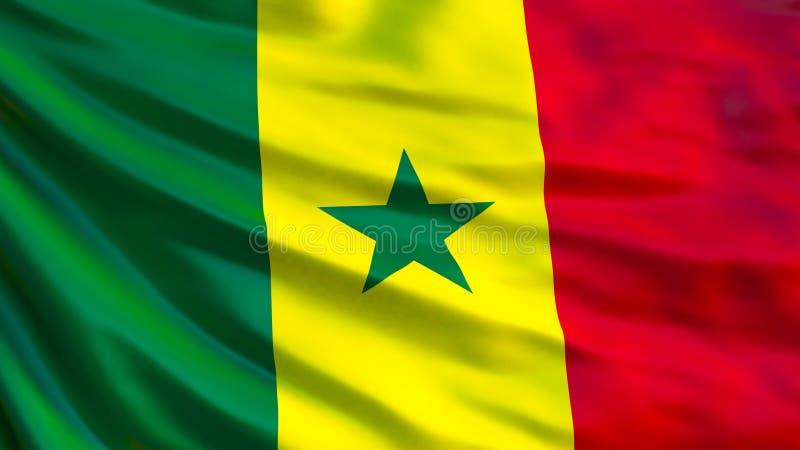 Drapeau du Sénégal Drapeau de ondulation d'illustration du Sénégal 3d illustration stock