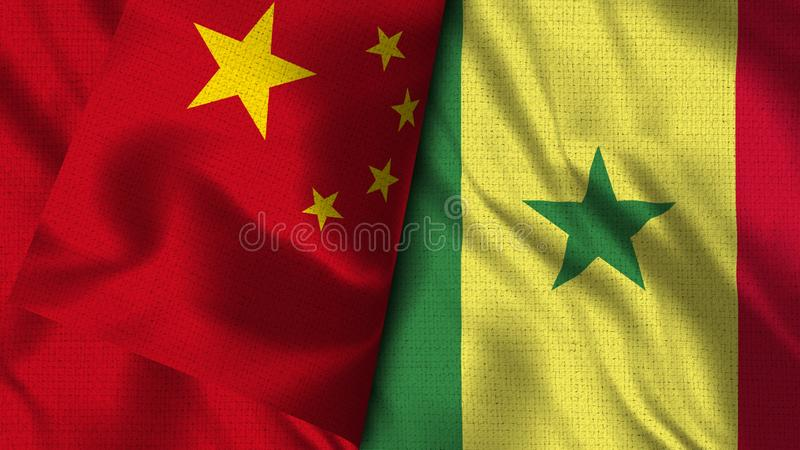Drapeau du Sénégal et de la Chine - drapeau de l'illustration 3D illustration libre de droits