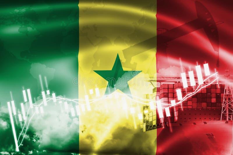 Drapeau du Sénégal, marché boursier, économie d'échange et commerce, production de pétrole, navire porte-conteneurs dans l'export illustration libre de droits