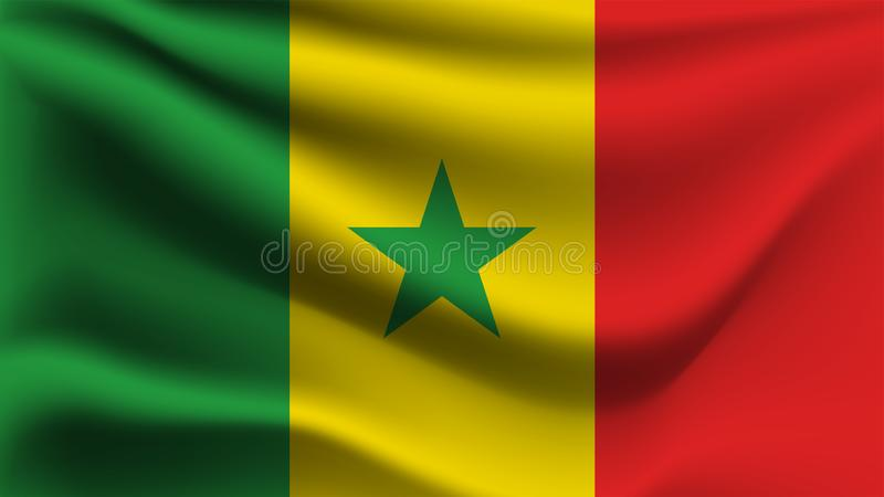 Drapeau du Sénégal ondulant avec le drapeau de vague d'illustration du vent 3D illustration stock