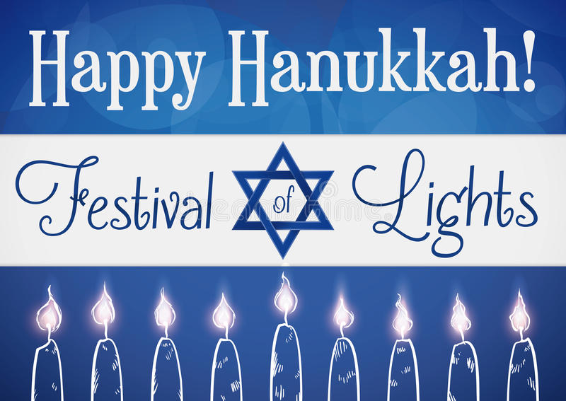 Drapeau du ` s de l'Israël avec les bougies allumées tirées par la main pour Hanoucca, illustration de vecteur illustration stock