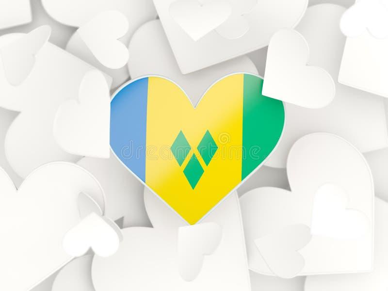 Drapeau du Saint-Vincent-et-les Grenadines, autocollants en forme de coeur illustration stock