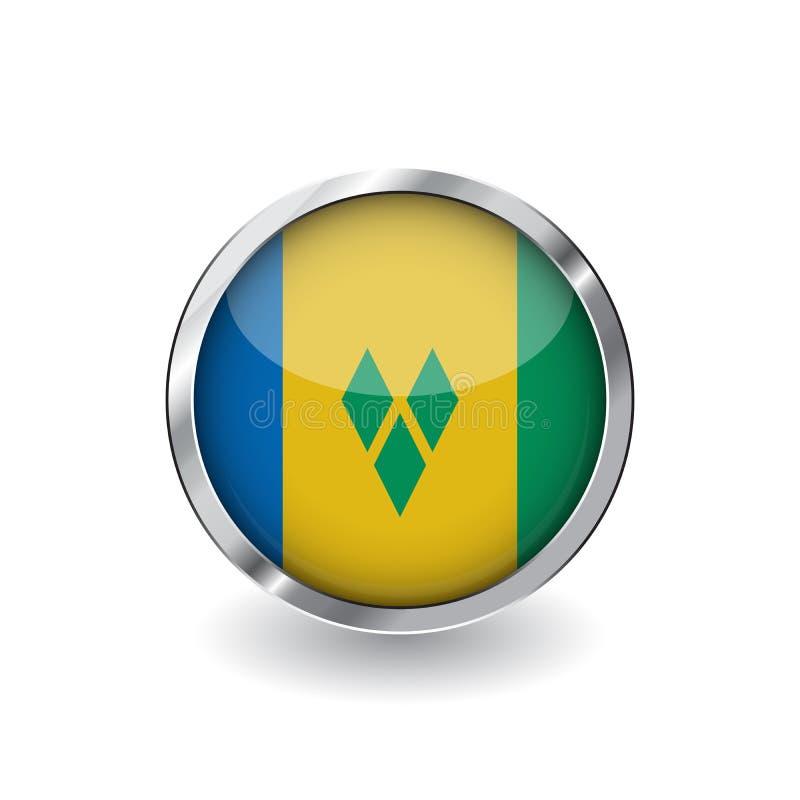 Drapeau du Saint-Vincent-et-les Grenadines, bouton avec le cadre en métal et l'ombre icône de vecteur de drapeau du Saint-Vincent illustration de vecteur