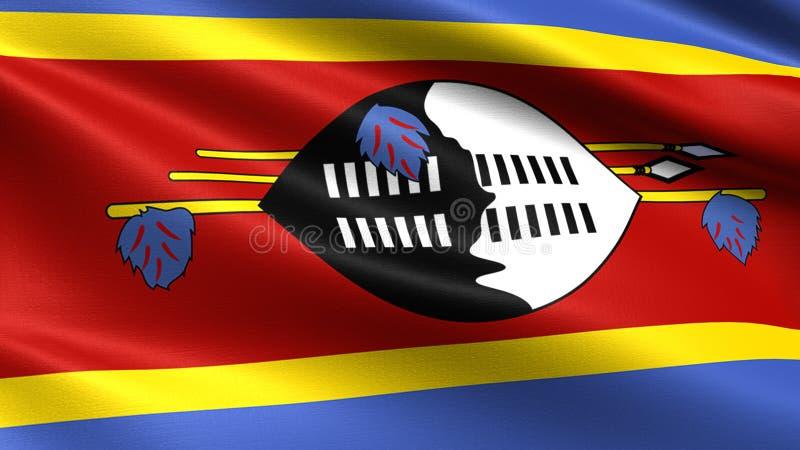 Drapeau du Souaziland, avec la texture de ondulation de tissu illustration de vecteur