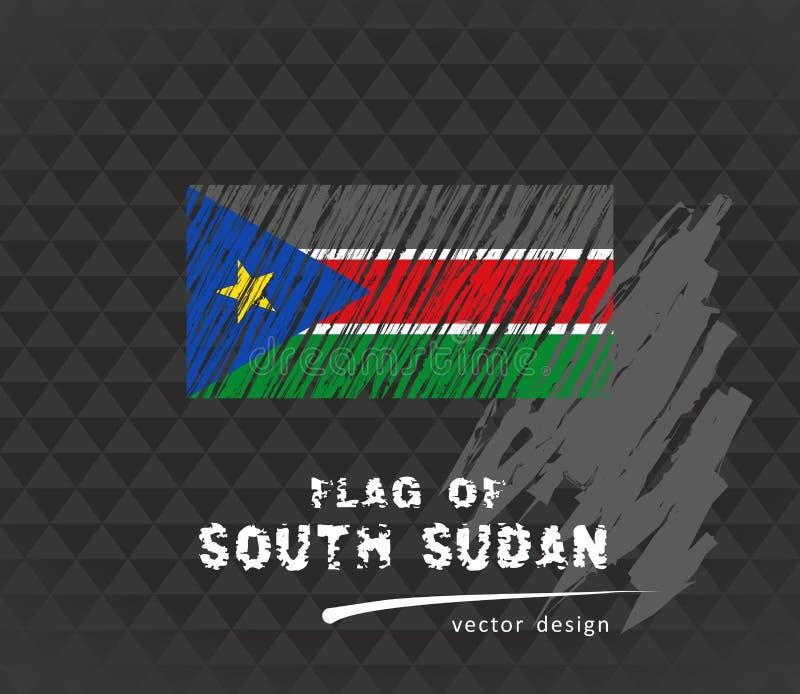 Drapeau du Soudan du sud, illustration de stylo de vecteur sur le fond noir illustration libre de droits