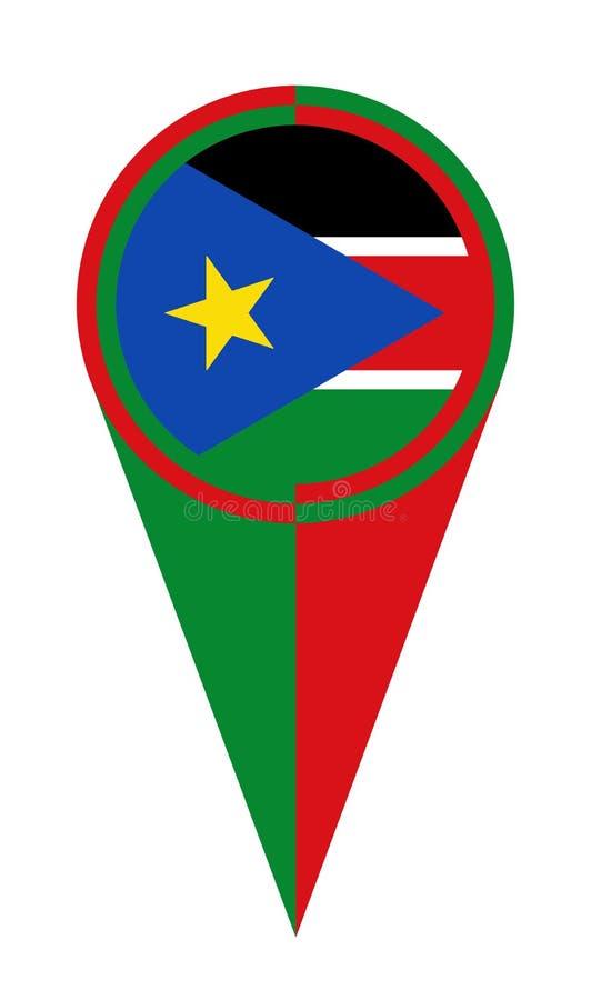 Drapeau du sud d'emplacement d'indicateur de carte du Soudan illustration libre de droits