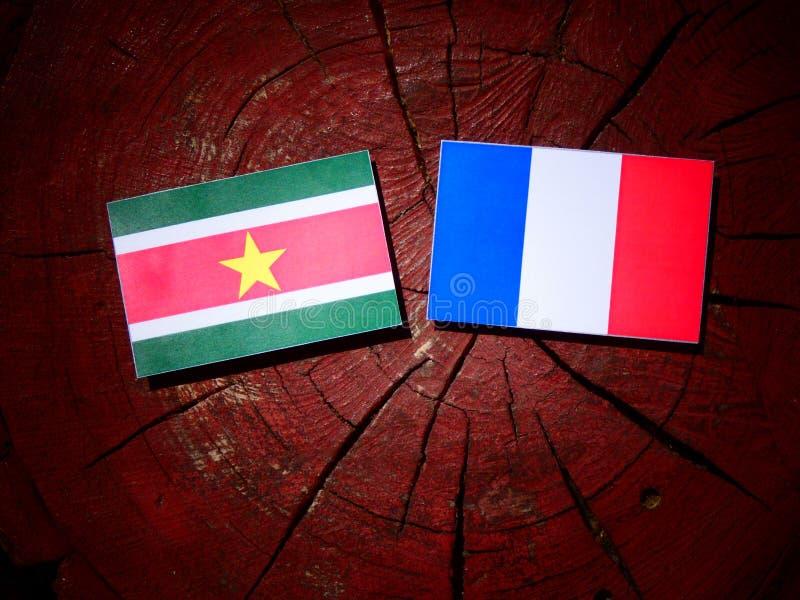 Drapeau du Surinam avec le drapeau français sur un tronçon d'arbre d'isolement photos stock