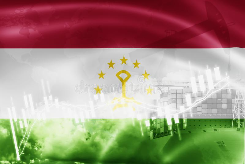 Drapeau du Tadjikistan, marché boursier, économie d'échange et commerce, production de pétrole, navire porte-conteneurs dans des  illustration stock