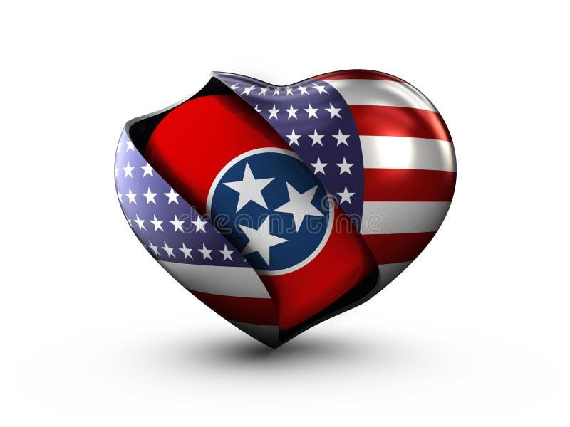 Drapeau du Tennessee d'état des Etats-Unis sur le fond blanc illustration de vecteur