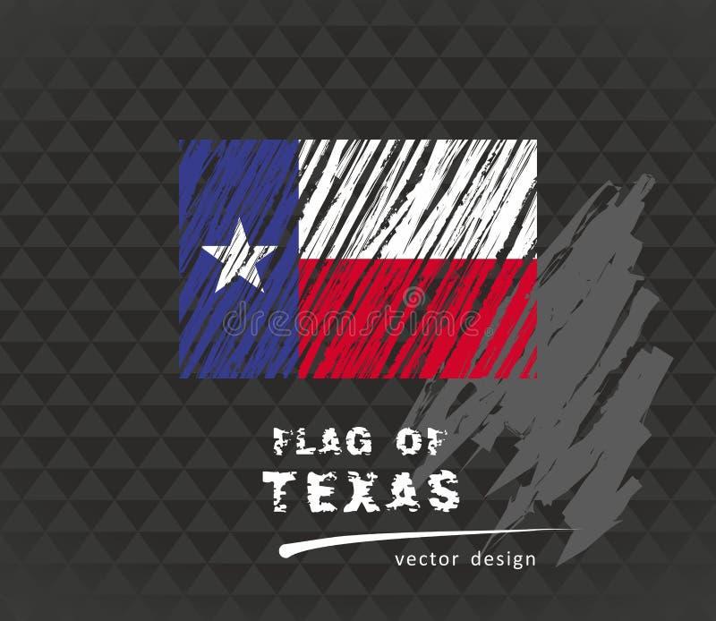 Drapeau du Texas, illustration de craie de vecteur sur le fond noir illustration stock