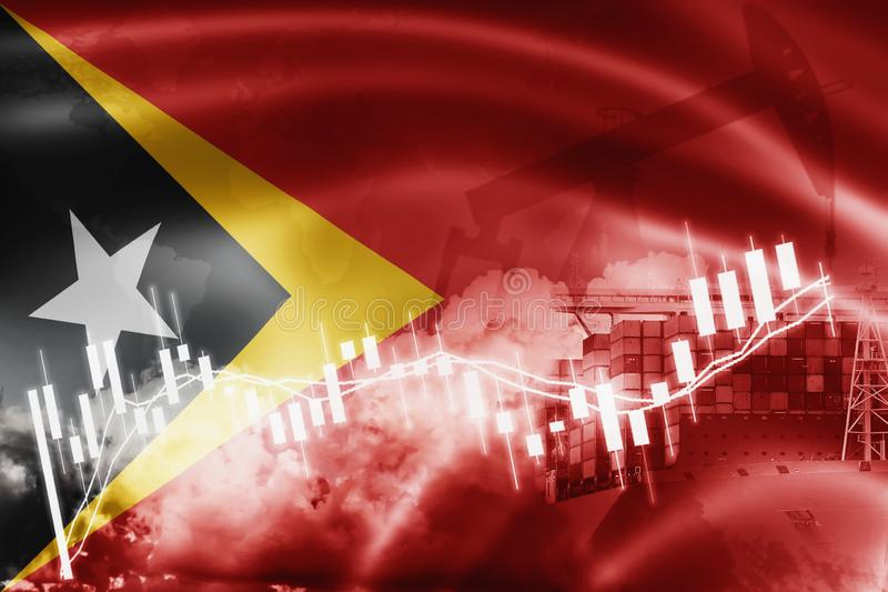 Drapeau du Timor oriental, marché boursier, économie d'échange et commerce, production de pétrole, navire porte-conteneurs dans d illustration stock