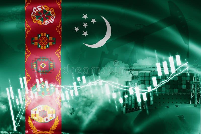 Drapeau du Turkménistan, marché boursier, économie d'échange et commerce, production de pétrole, navire porte-conteneurs dans des illustration libre de droits