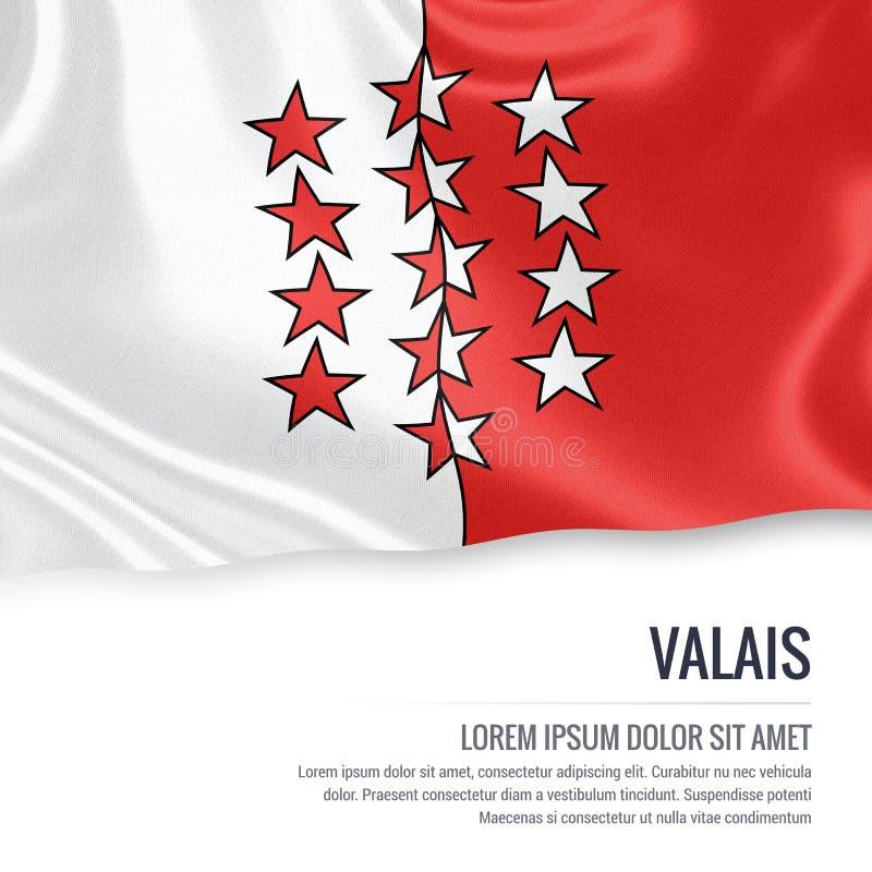 Drapeau du Valais d'état de la Suisse ondulant sur un CCB blanc d'isolement illustration de vecteur