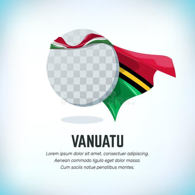 Drapeau du Vanuatu Calibre volant rond avec le manteau national de couleur Peut être employé avec le logo ou la mascotte Utilisat illustration de vecteur