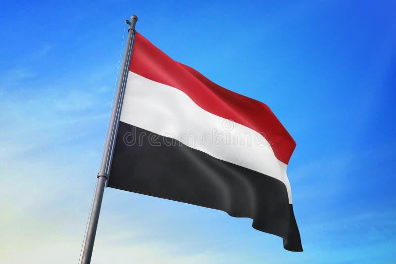 Drapeau du Yémen ondulant sur l'illustration du ciel bleu 3D illustration de vecteur